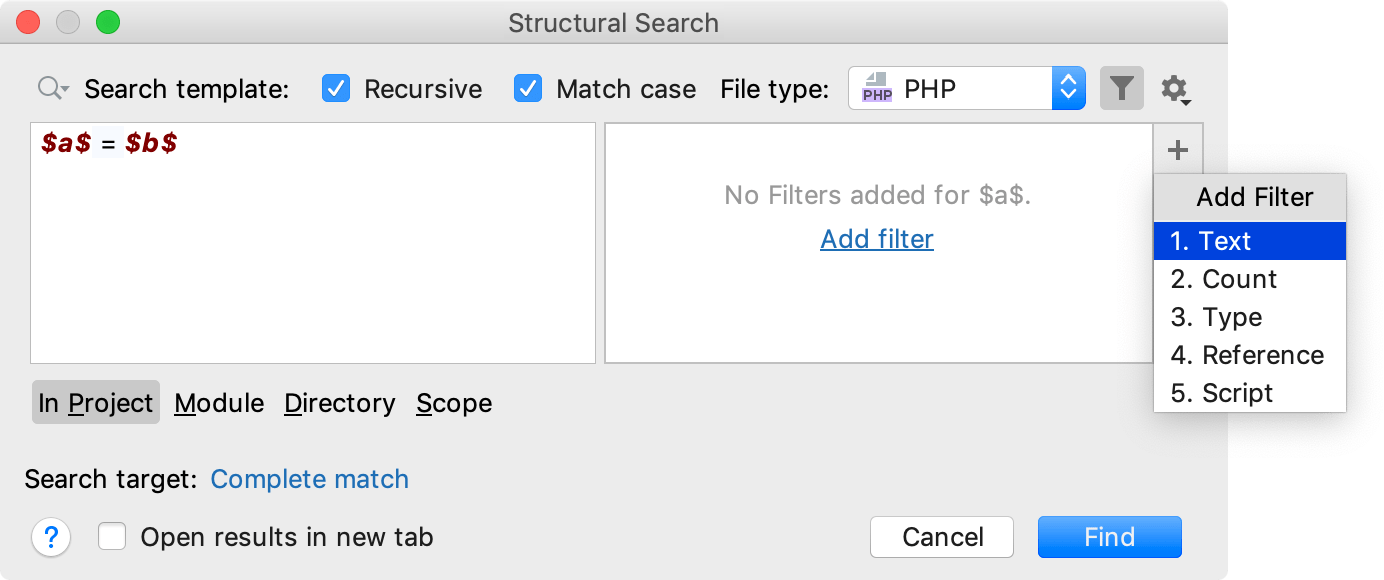 A search template preview