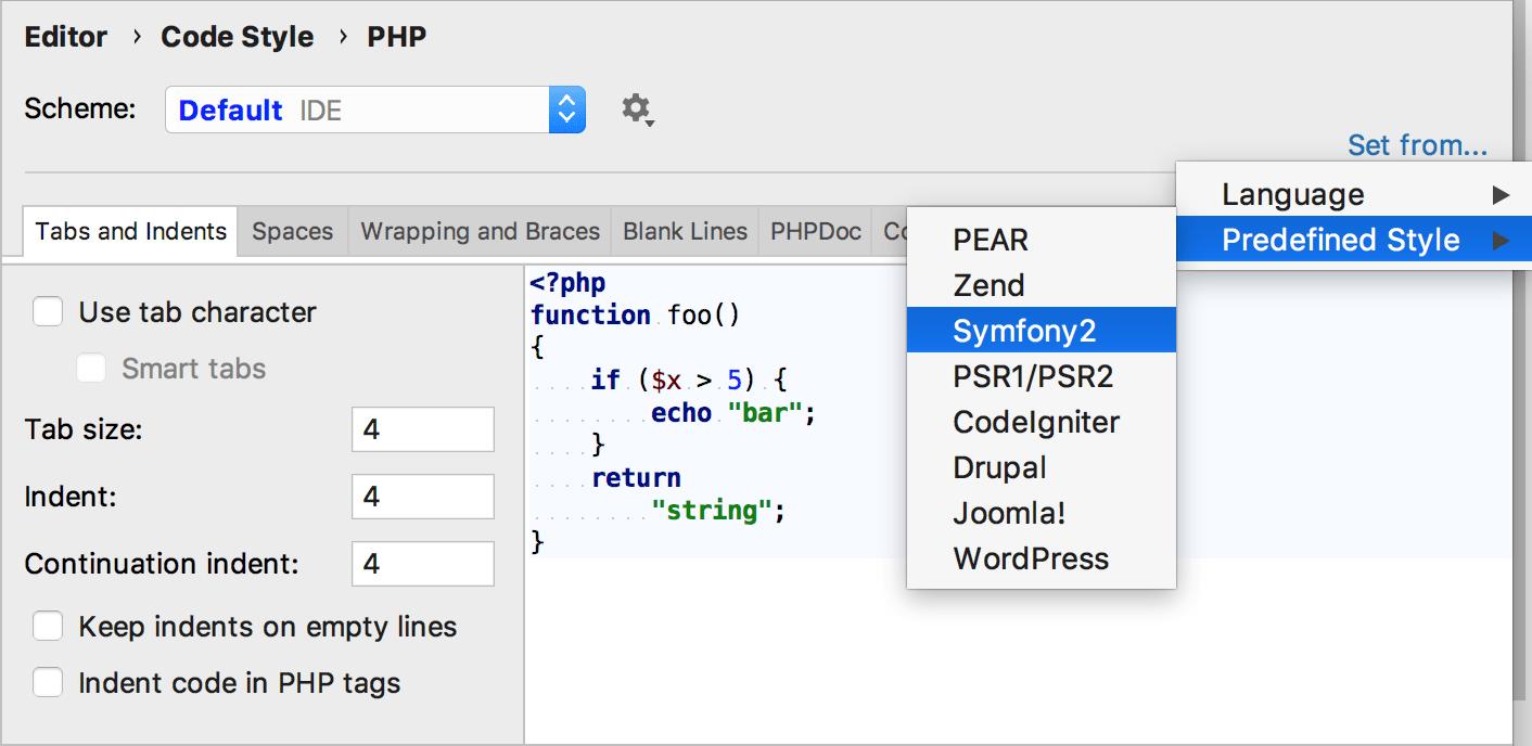 Symfony code style settings