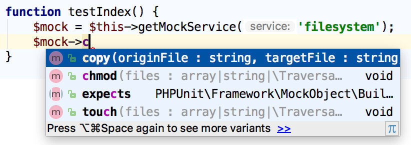 Symfony mock completion in a helper function available