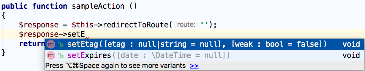 Symfony response name completion in a helper function