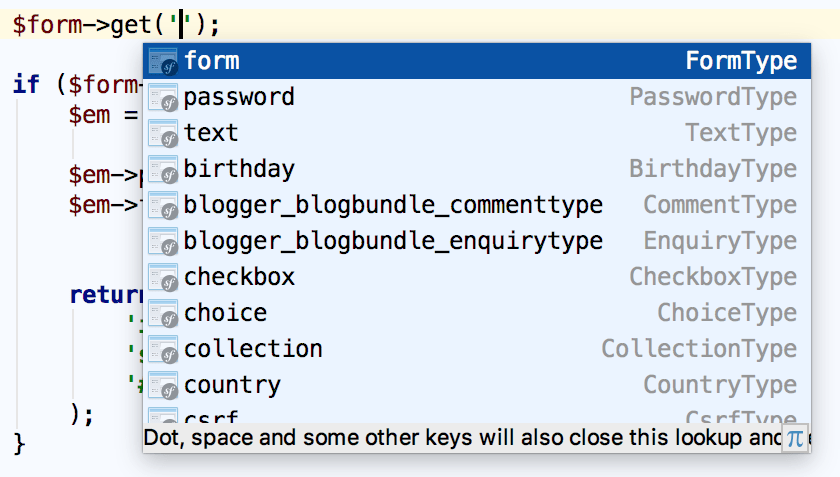 Symfony form field name completion