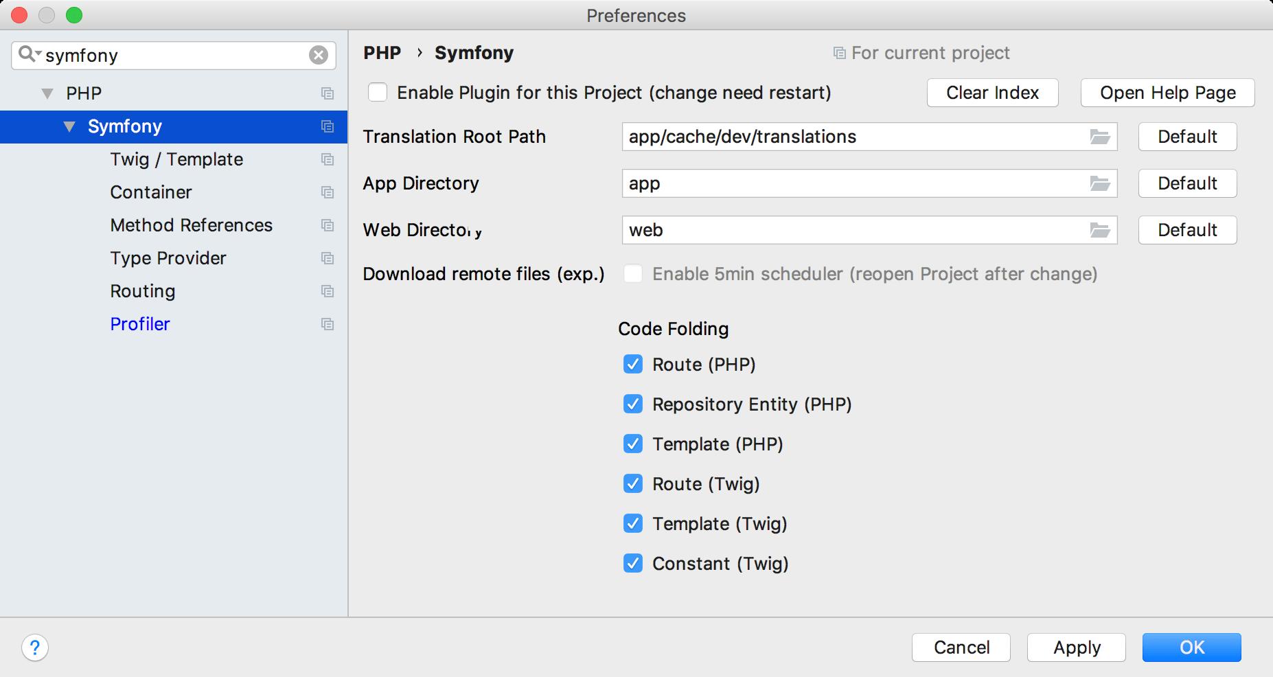 Symfony general settings
