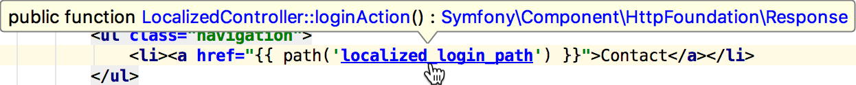 Navigate to Symfony controller
