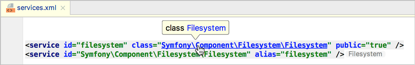 Navigating between Symfony service implementation and declaration