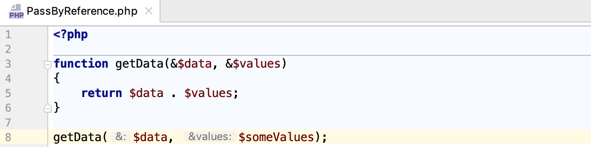 Parameter hints for arguments passed by reference