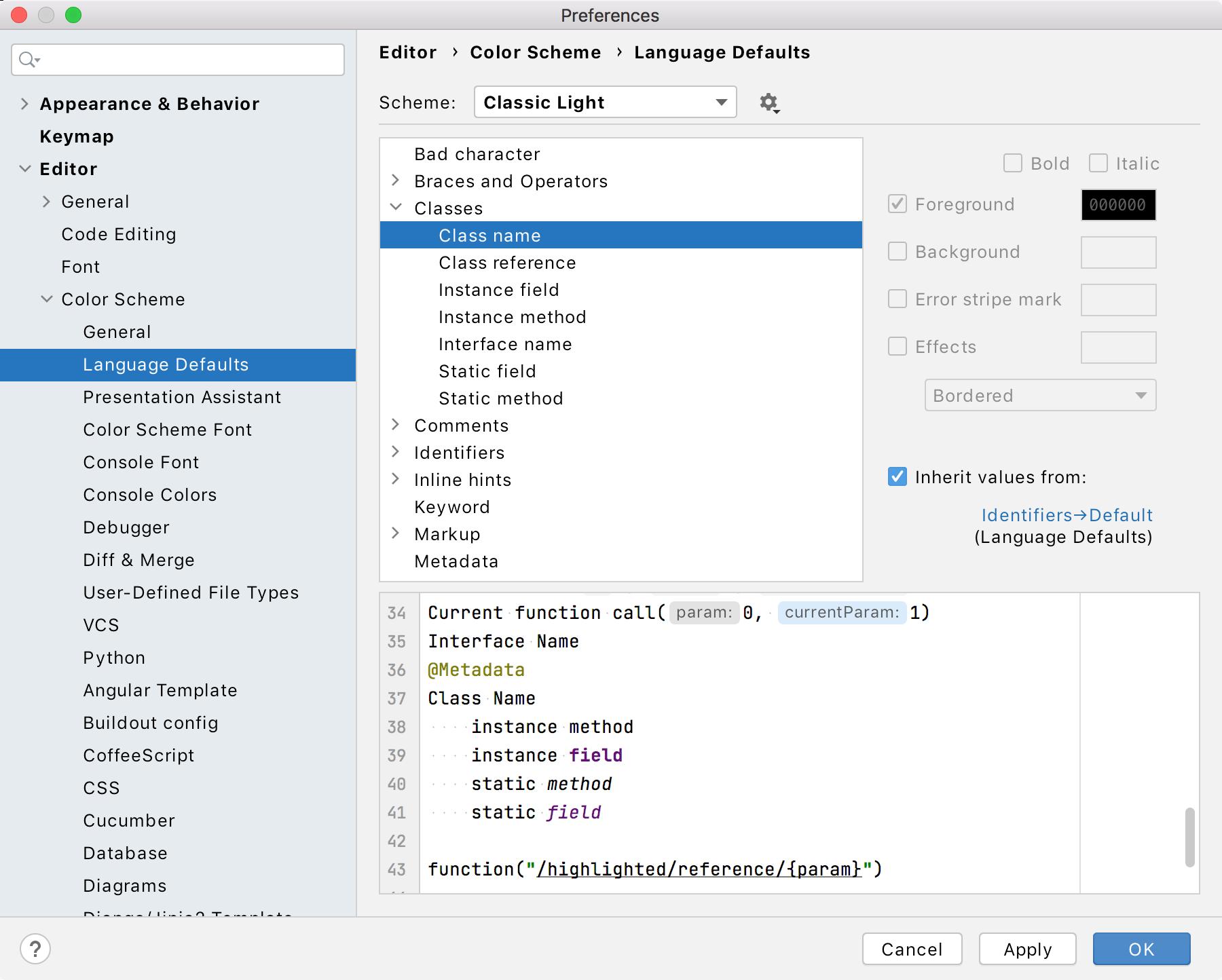 Language Defaults section under Color Scheme settings