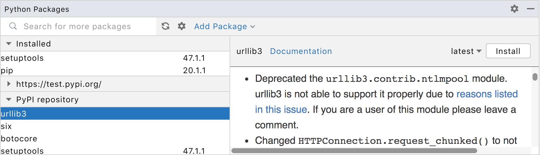 Python Package tool window