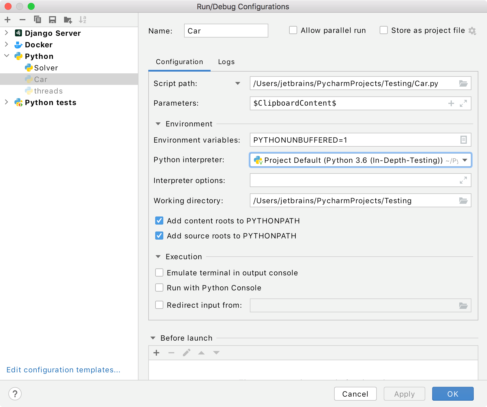 creating a new run/debug configuration