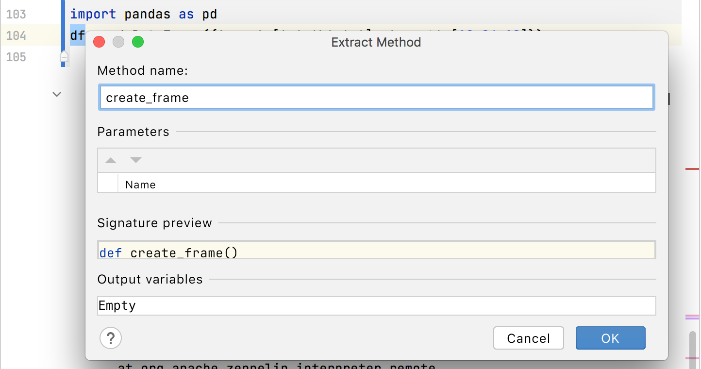 Extracting a method