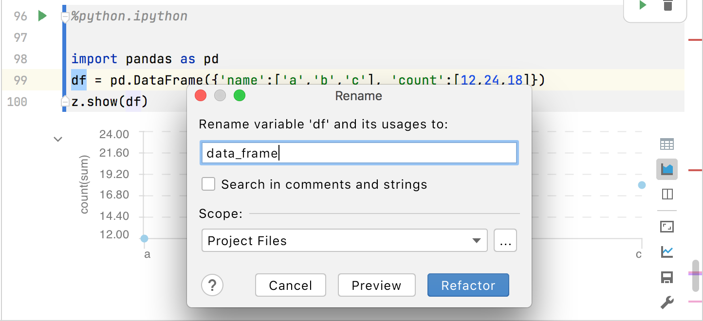 Renaming refactoring for Scala code in a notebook