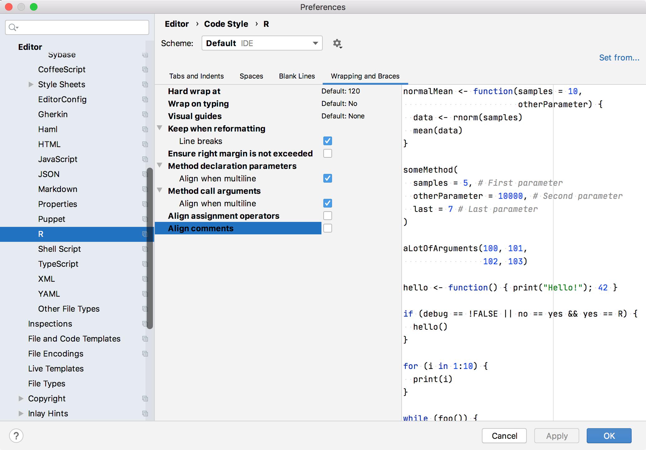R code style settings