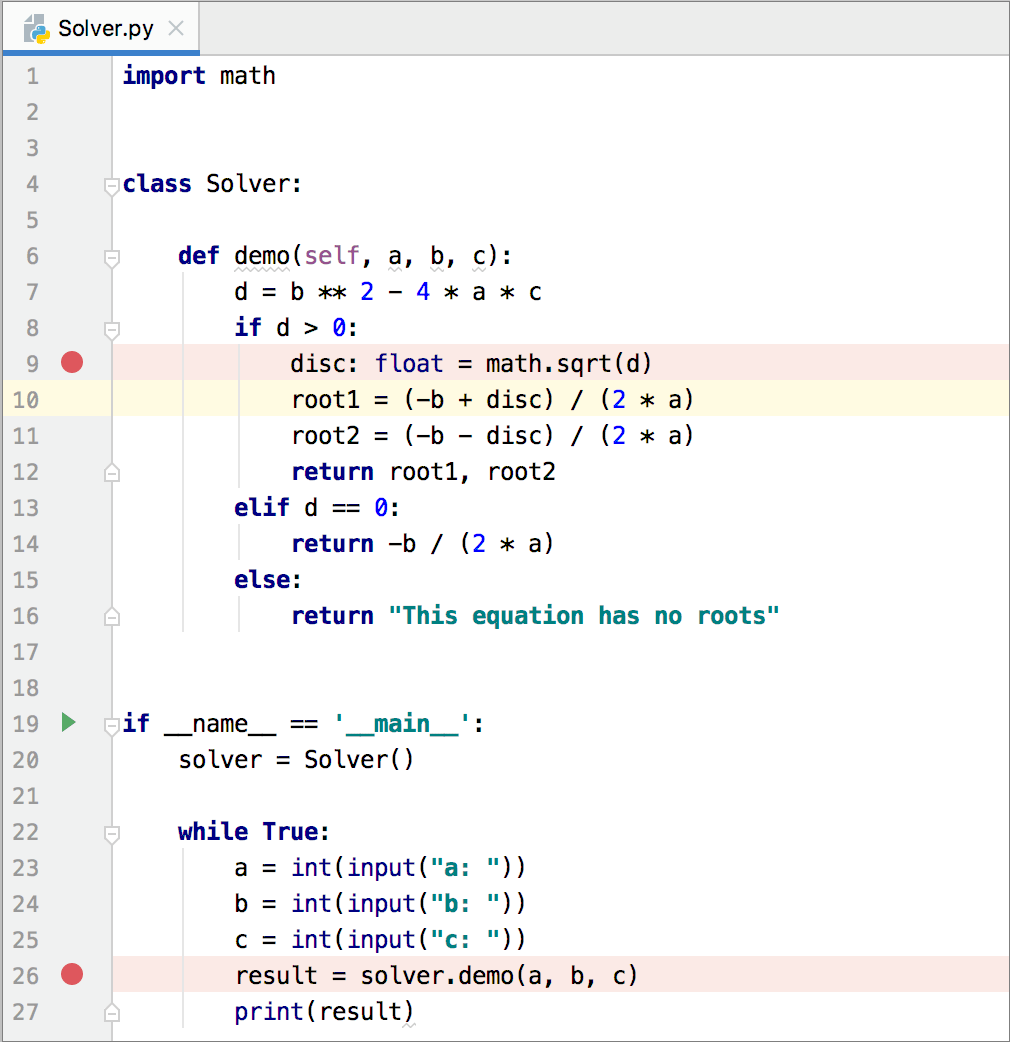 Adding a breakpoint