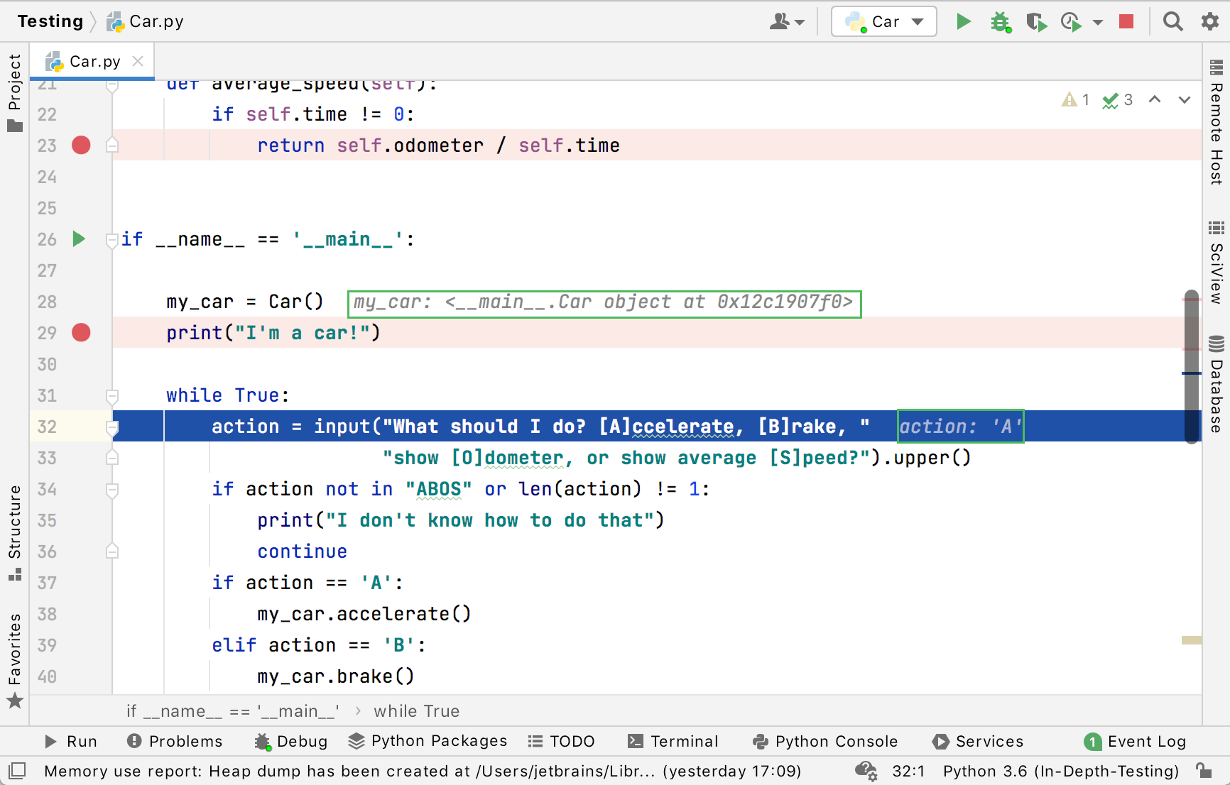 Inline debugging