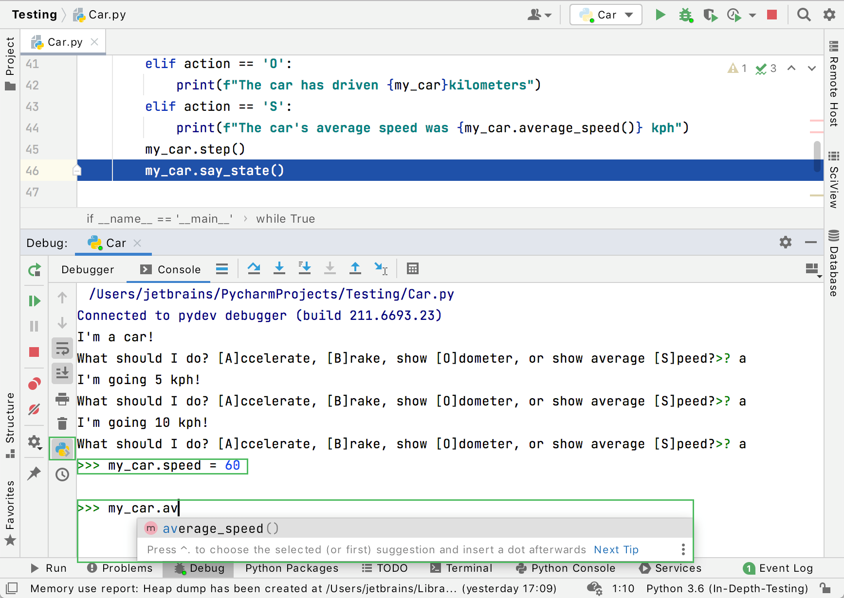 changing variables during debugging in the Python console