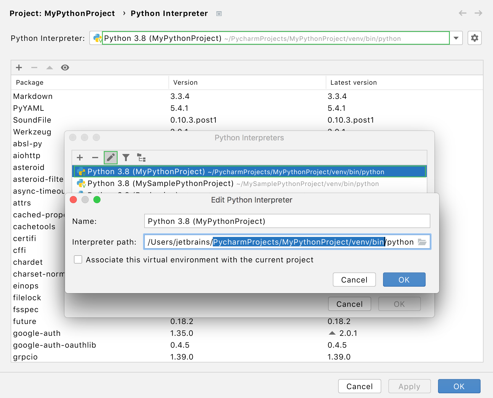 Discover the interpreter path for the selected venv
