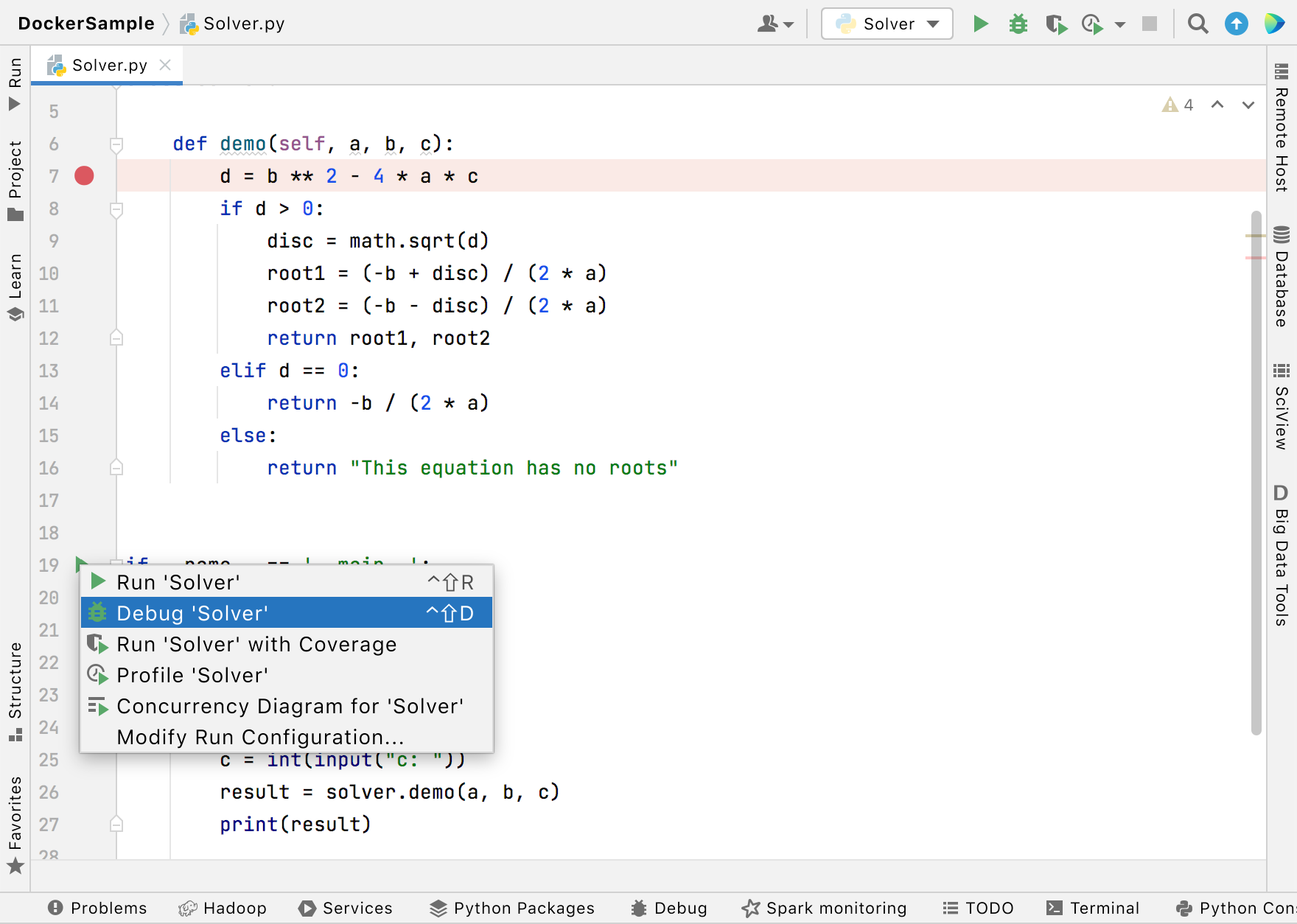Setting a breakpoint and launching the debugger