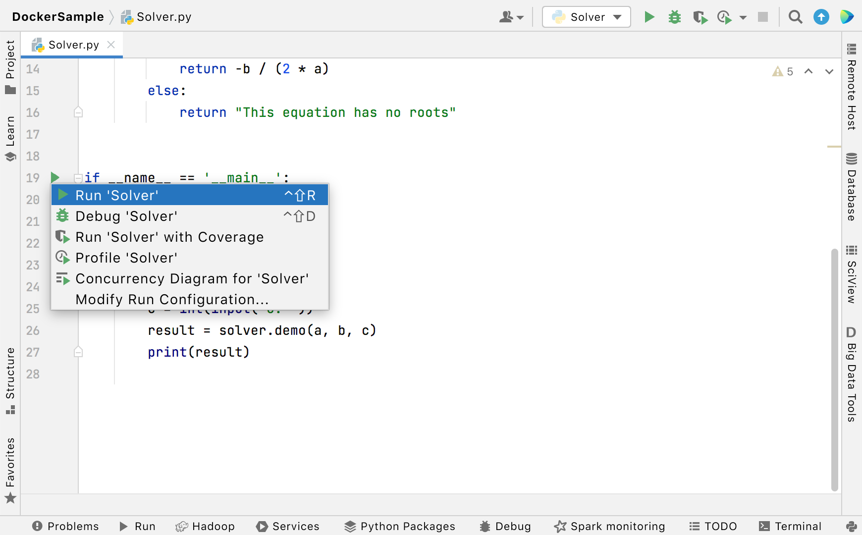 Run context menu