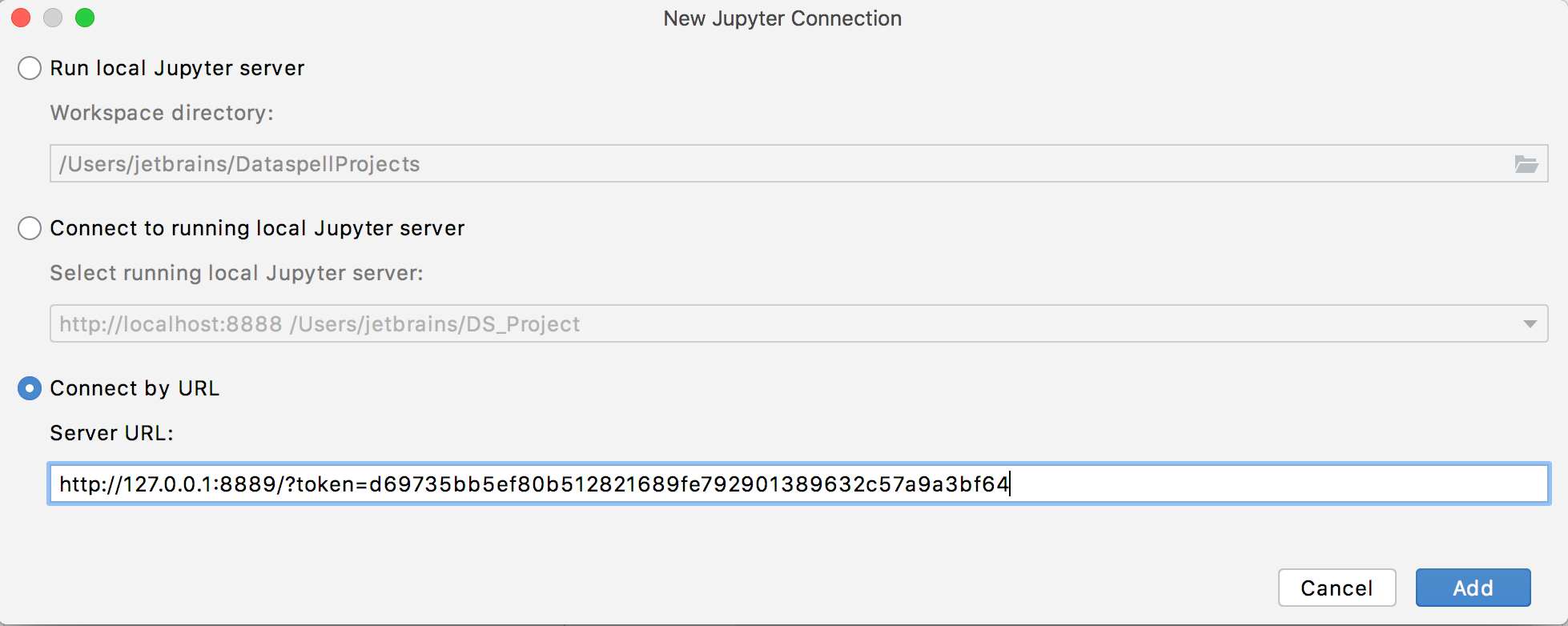 Add a remote connection to a Jupyter server