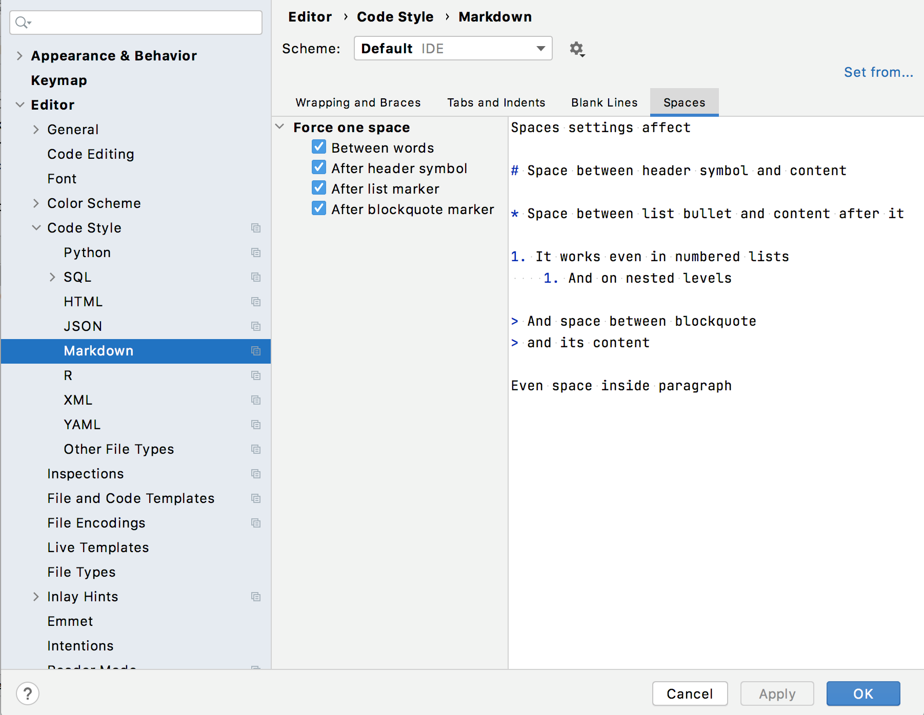 Code style settings for Markdown