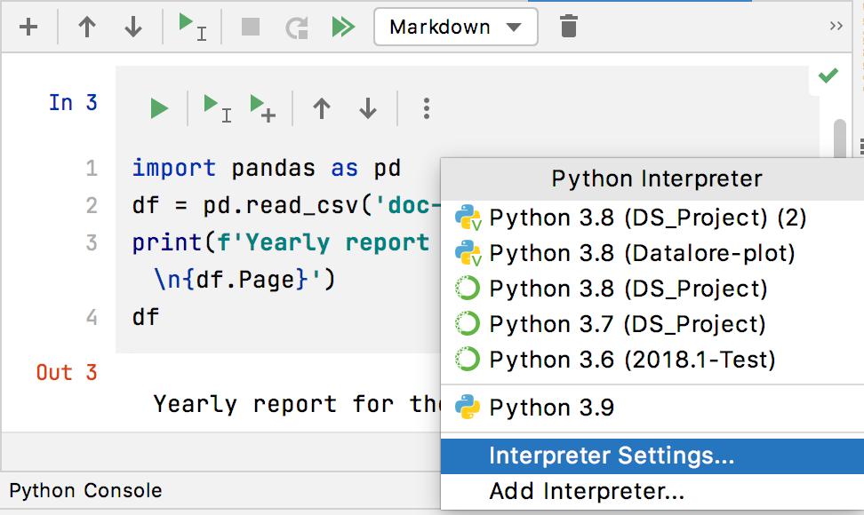 Select Interpreter Settings