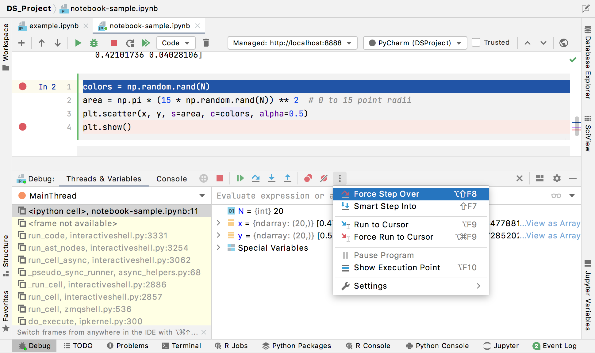 Jupyter Notebook Debugger tool window