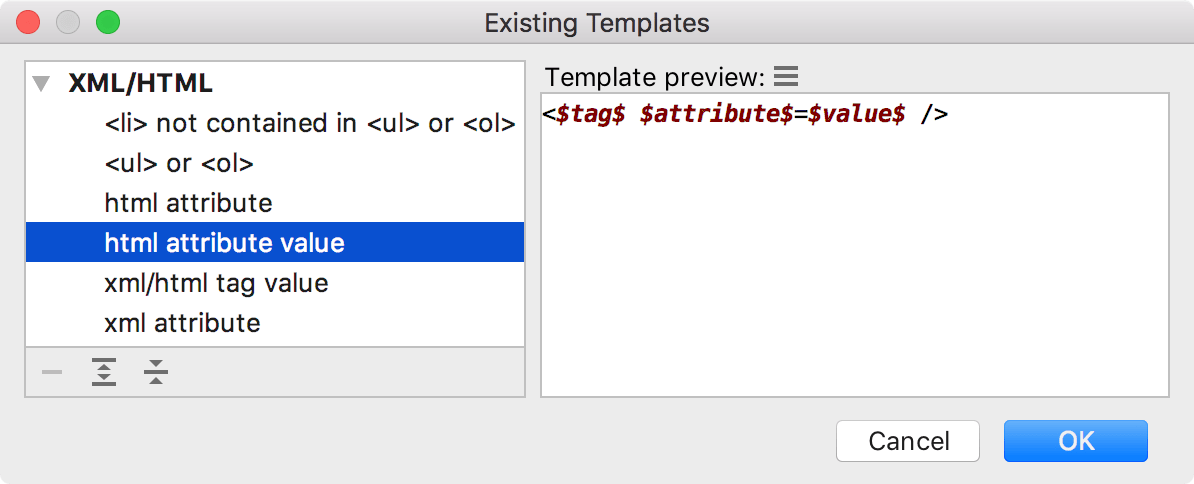 the Existing Templates dialog