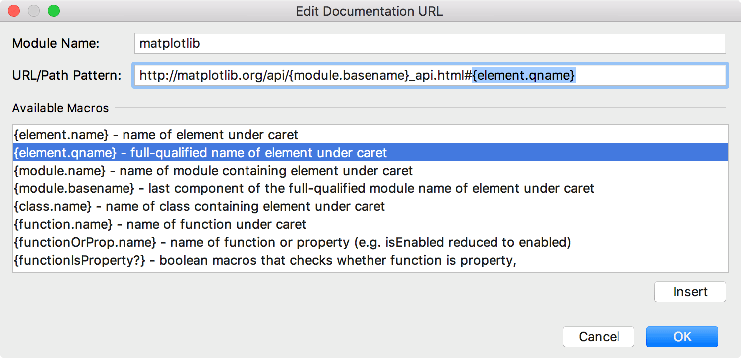 Modifying the URL for the matplotlib documentation