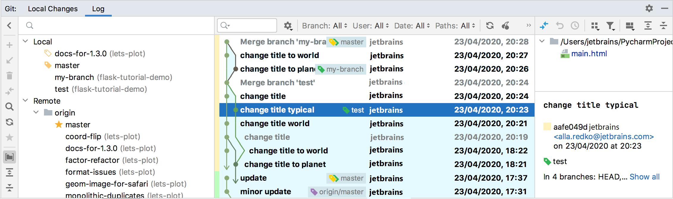 Login tab of the Git tool window