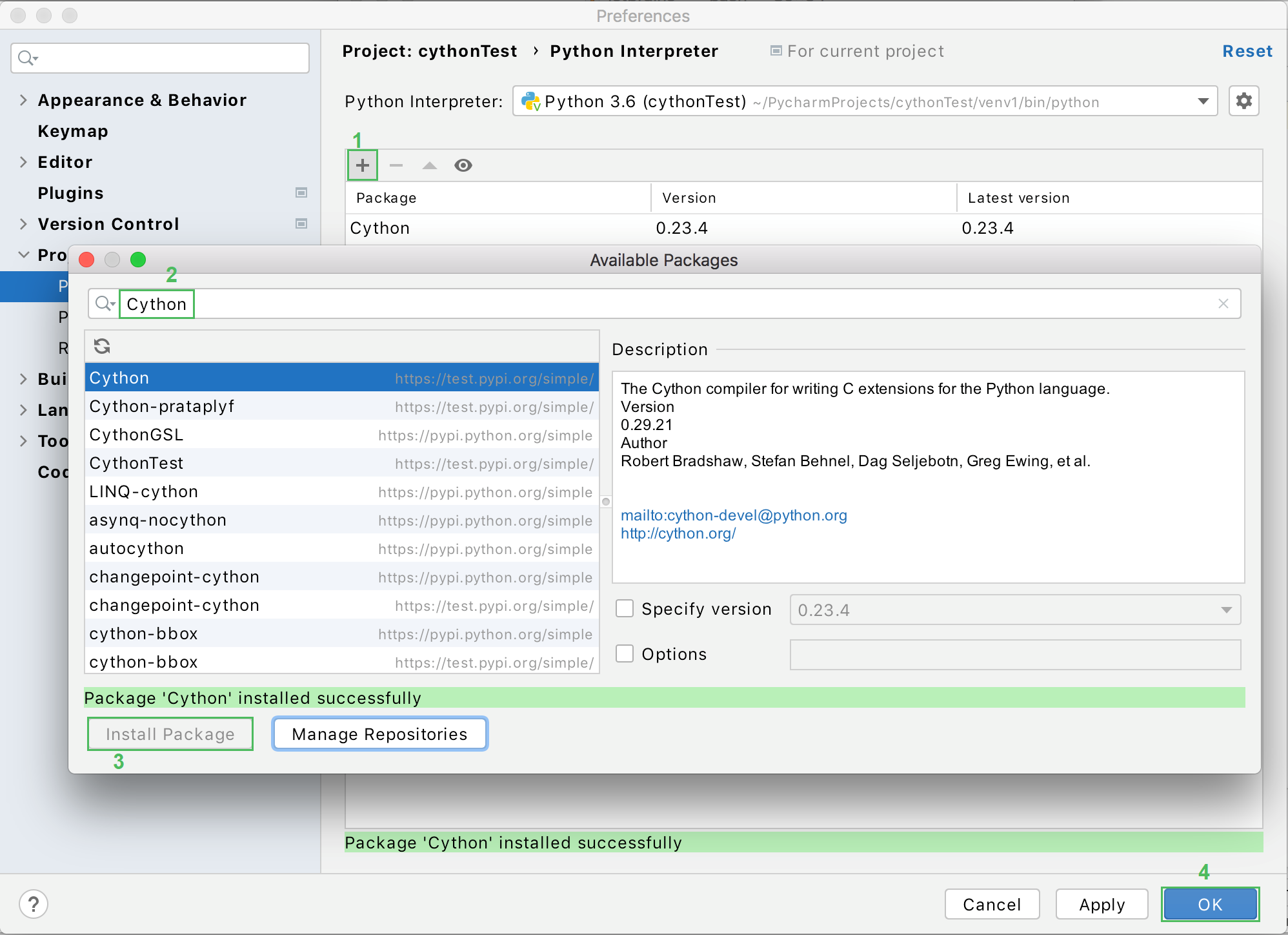Installing the Cython package