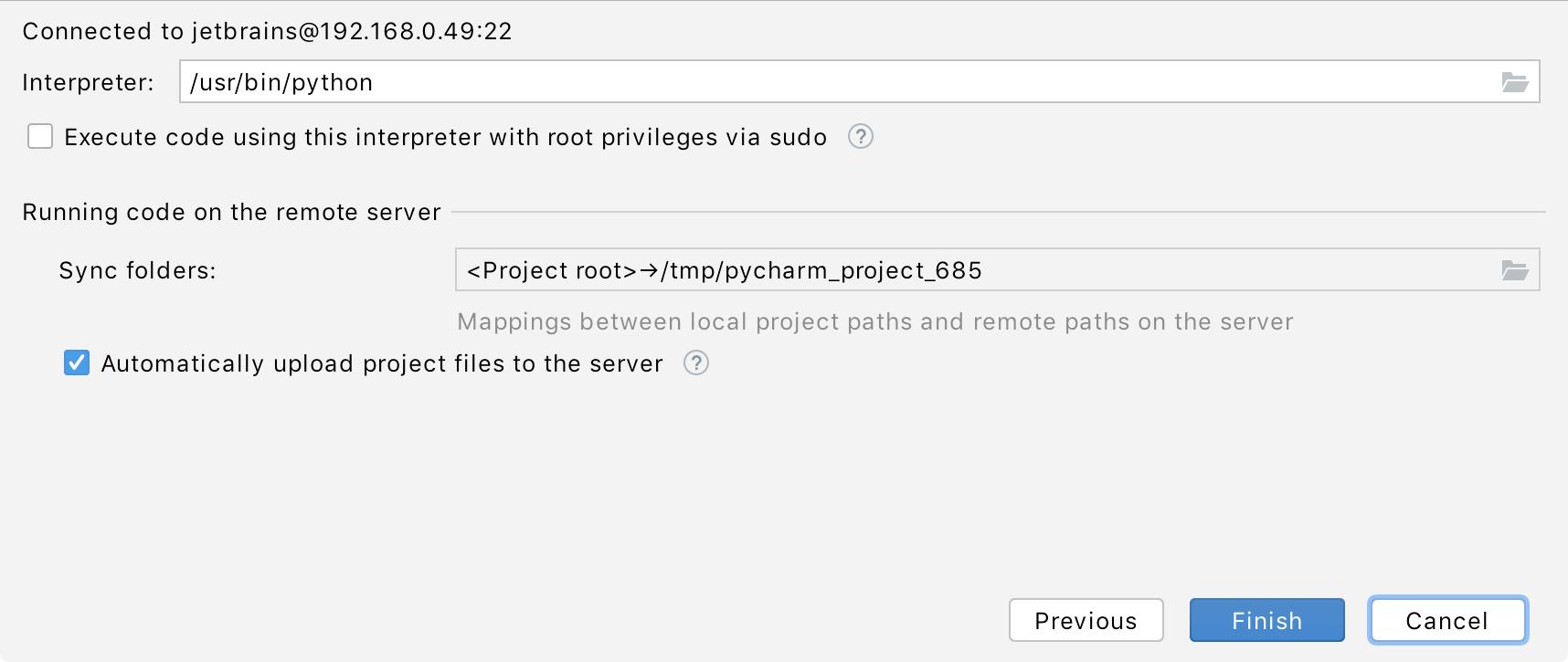 Setting SSH mappings