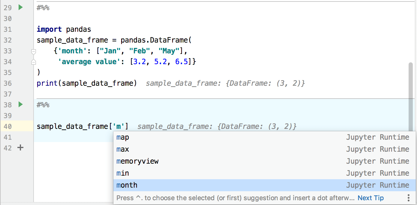 Runtime code completion for Jupyter notebooks