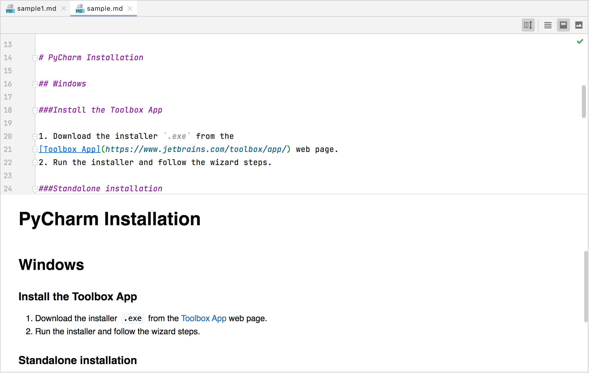 Markdown editor and live preview pane