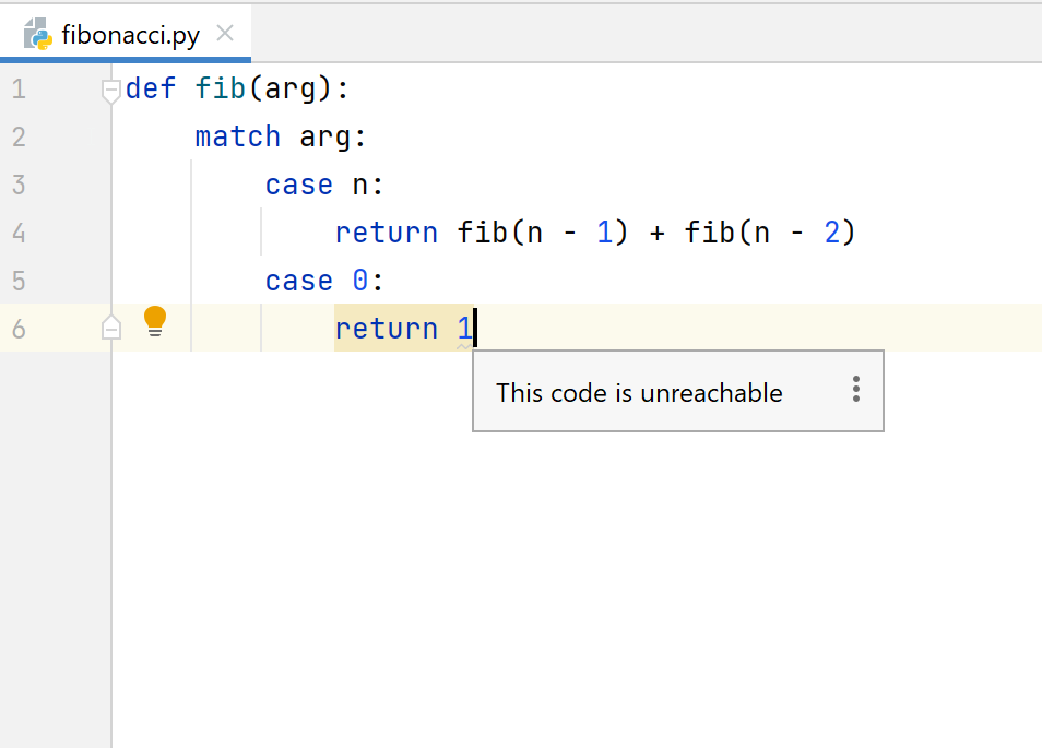 Unreachable code in pattern matching