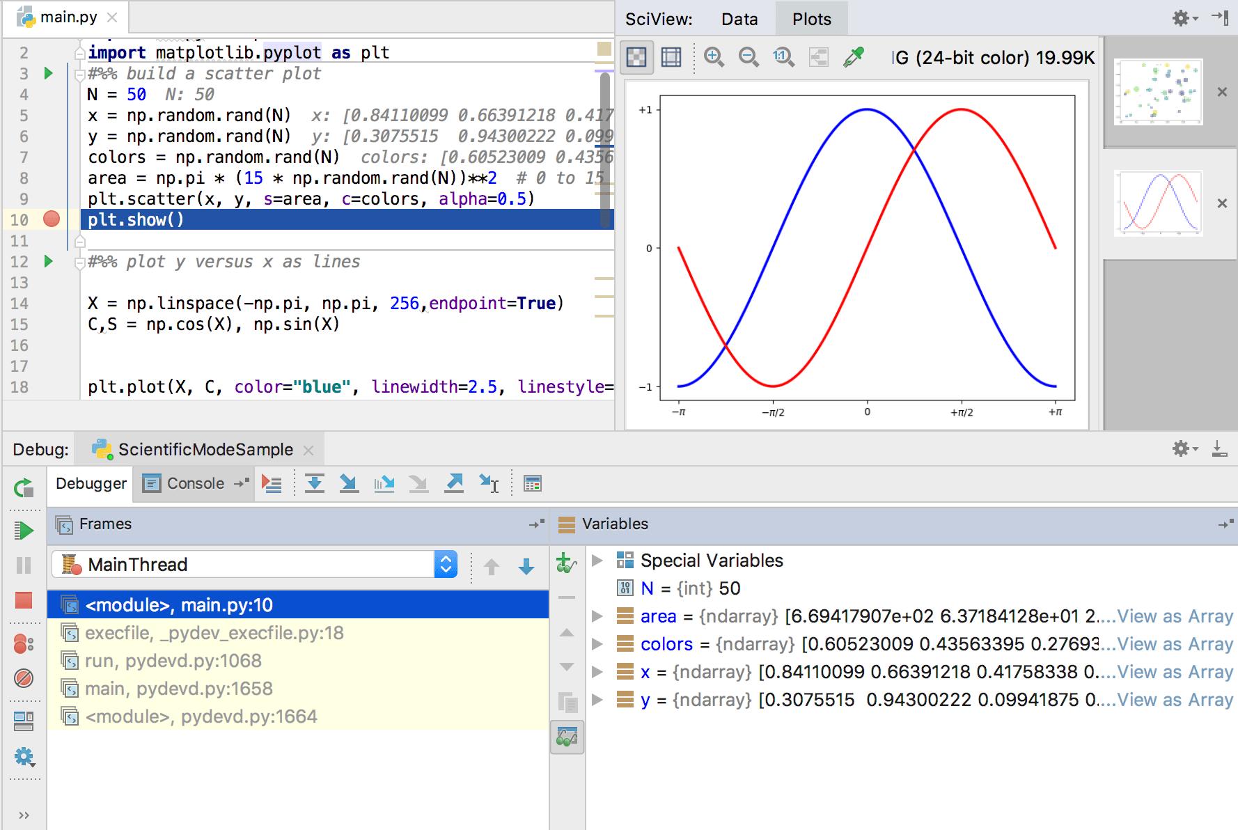 Debugging the matplotlib code