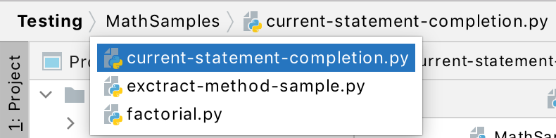 Using PyCharm navigation bar to open files