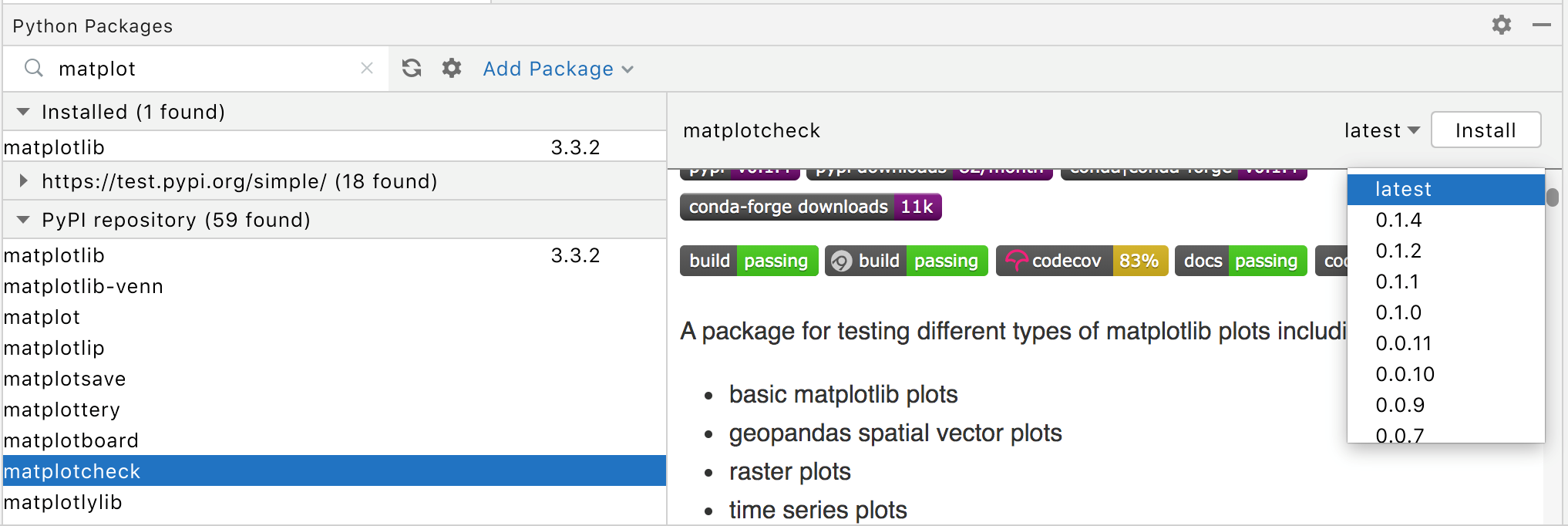 Install a package in the Python Packages tool window