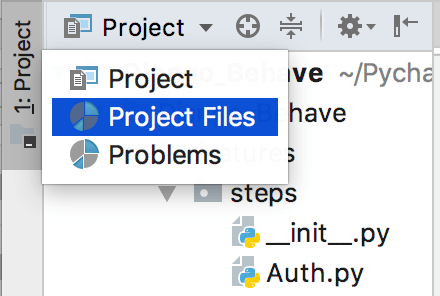 PyCharm: choosing a view in the Project tool window