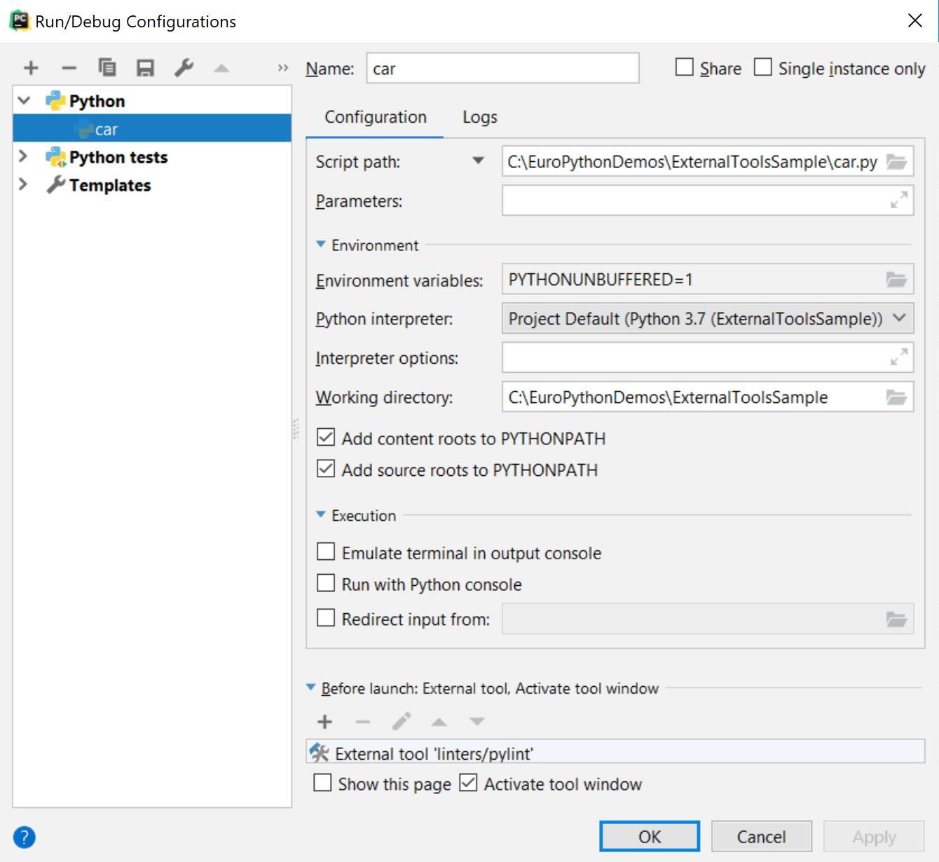Adding pylint to the Run/Debug configuration