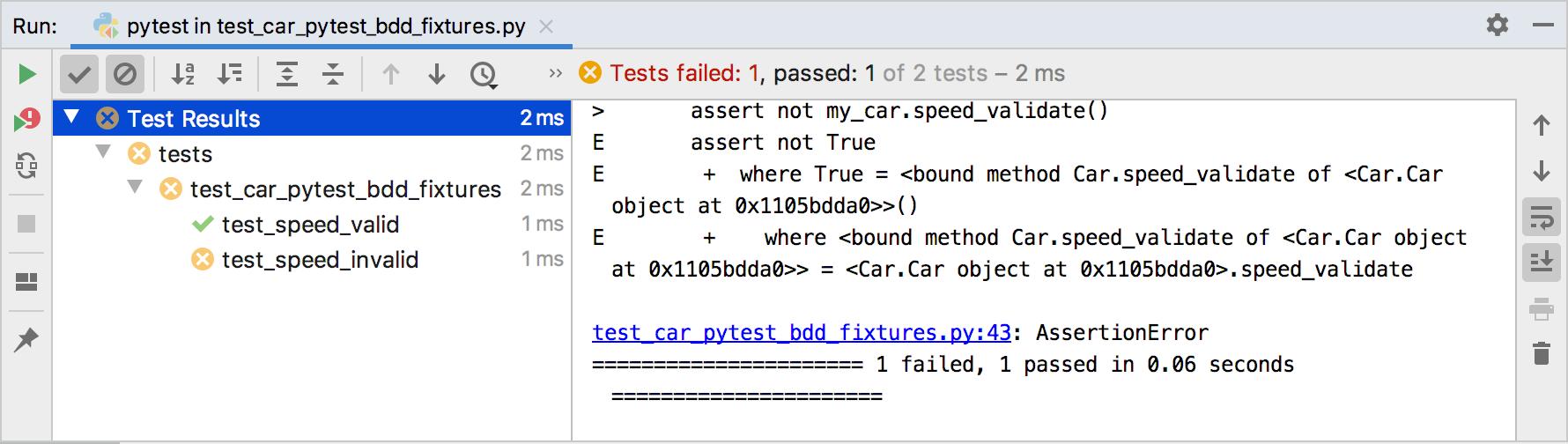 pytest-bdd results