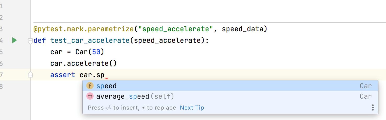 Code completion for pytest.mark.parametrize