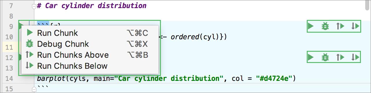 Executable code chunk in the editor