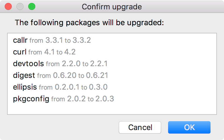 The list of the packages to upgrade