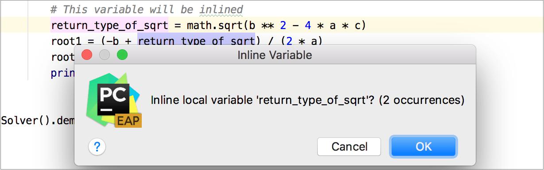 Inline dialog