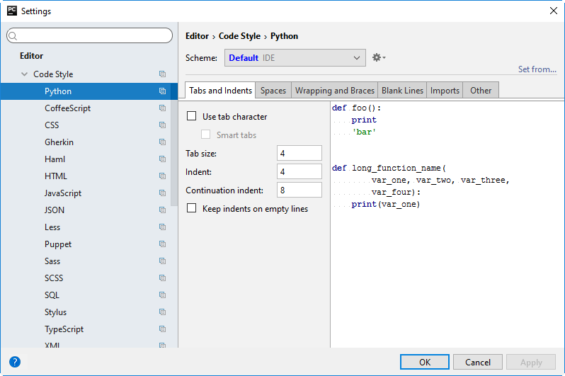 Py reformat code settings