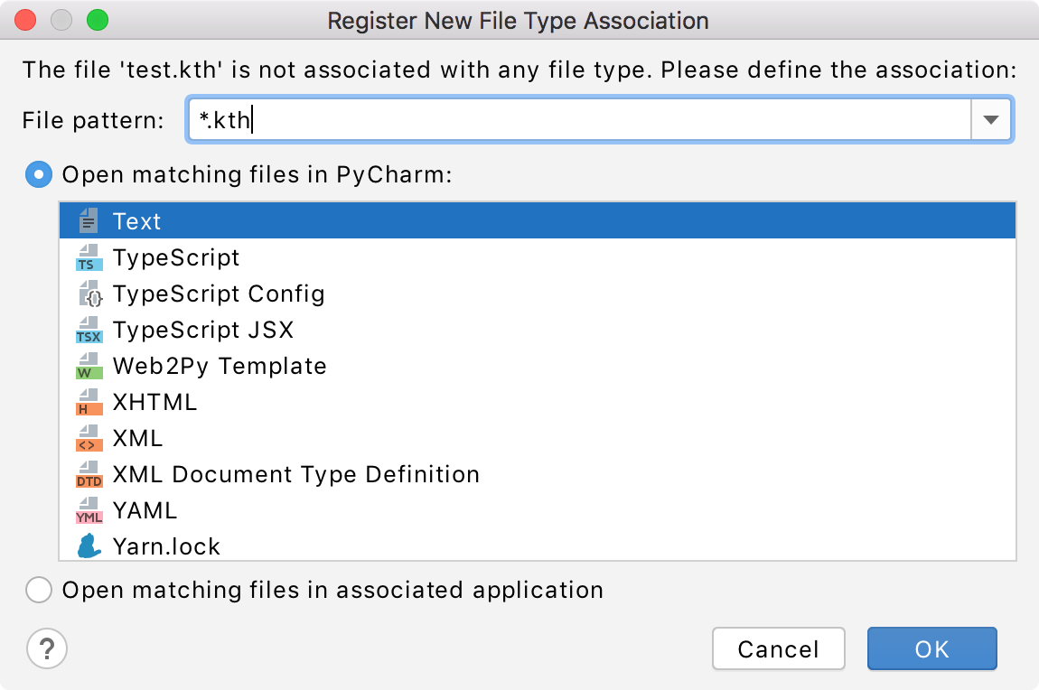 PyCharm: Associating a filename pattern with specific file type