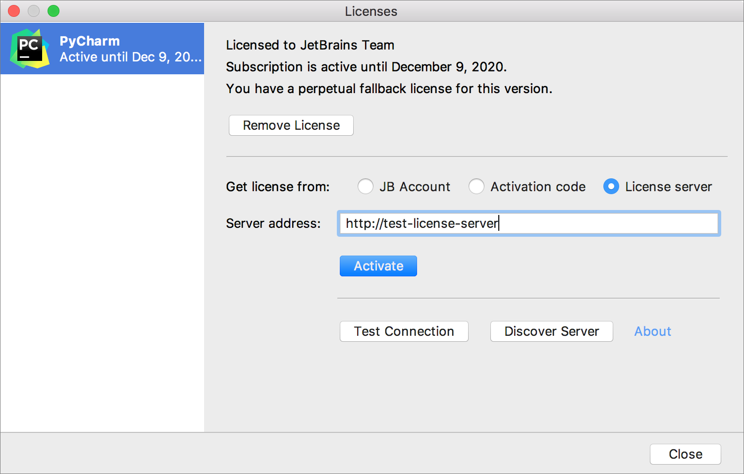 The License Activation dialog