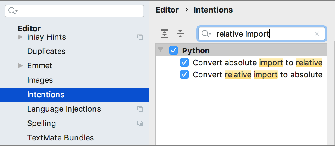 Intentions for converting imports