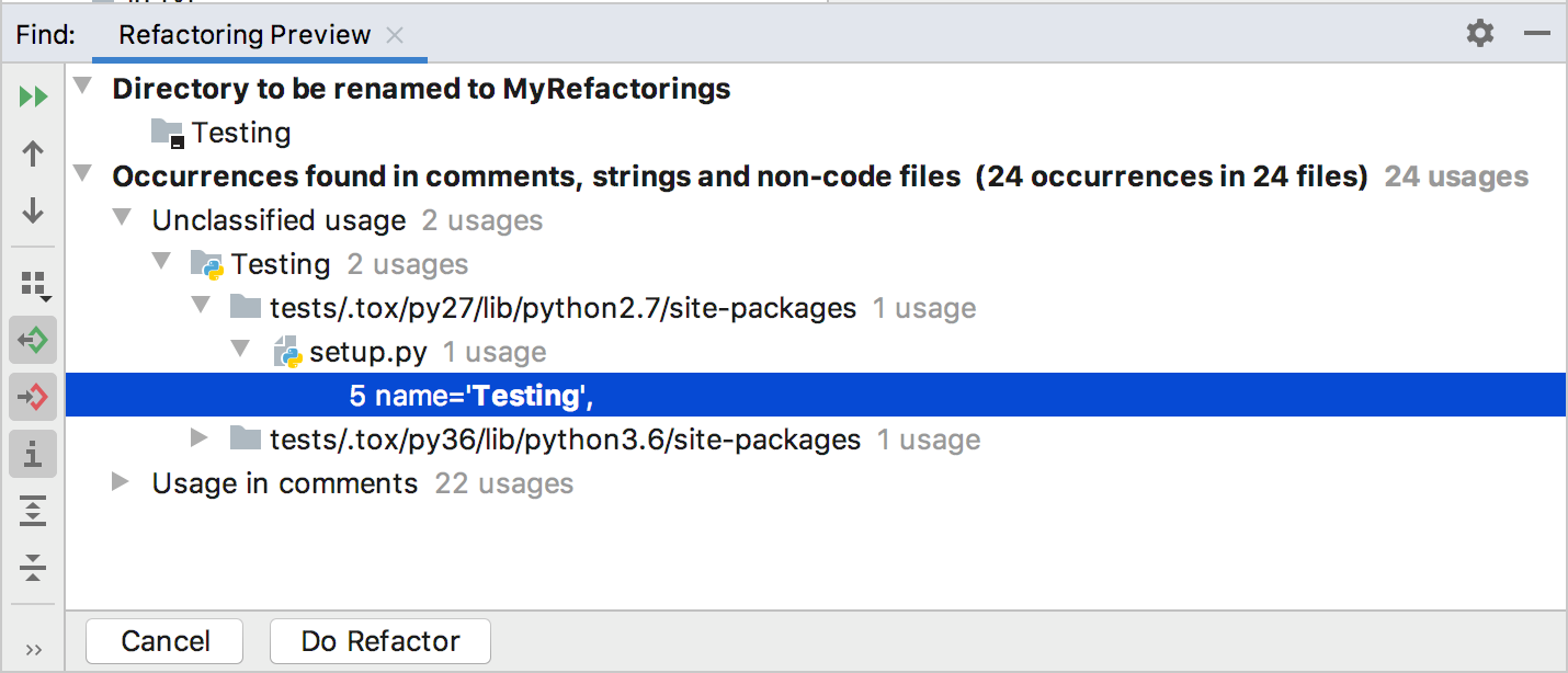 Preview of the rename refactoring