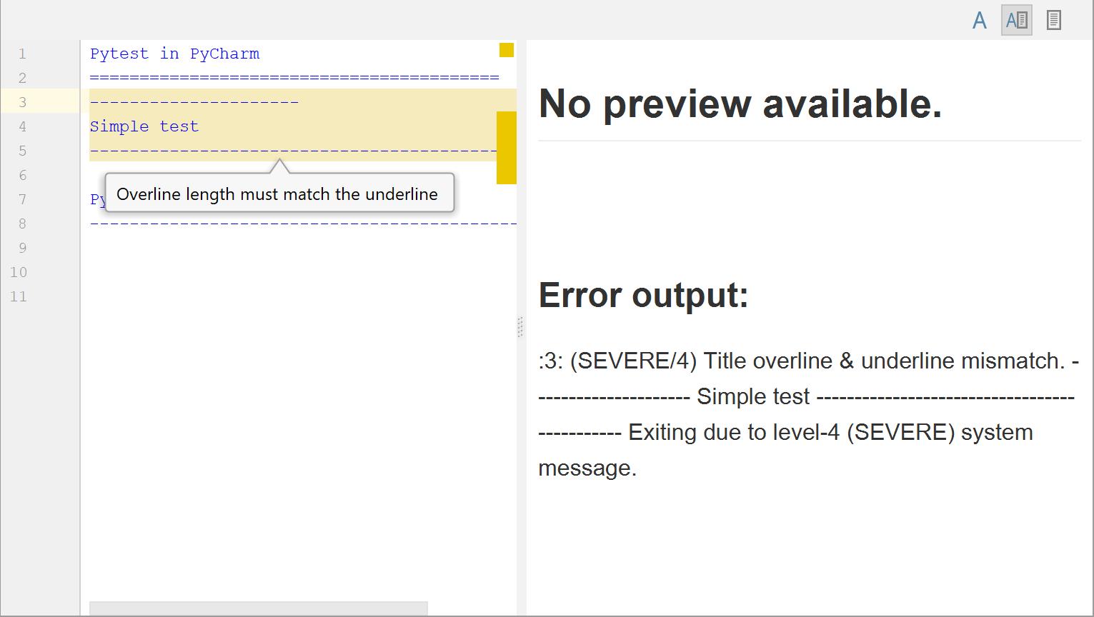 Markup error detected