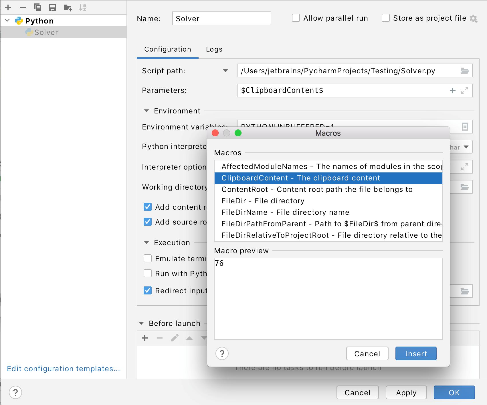Adding macros to the Solver run/debug configuration